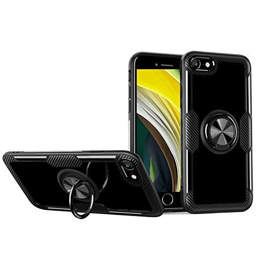 KONEE Hülle Kompatibel mit iPhone SE (2020), Transparente Handyhülle Mit 360 ° Verdrehbare Ring [ TPU + PC ], für Magnetischen Autohalterungen, Multifunktions Abdeckung für iPhone SE 2020