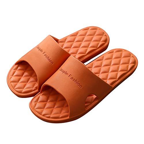 Zapatillas de Estar por Casa, Zapatillas De Ducha para Mujer, Hombre, Antideslizantes, Cómodos Zapatos para El Hogar, Sandalias De Mejora De Desodorización D(Size:24.5~25cm/39~40EUR,Color:Naranja)