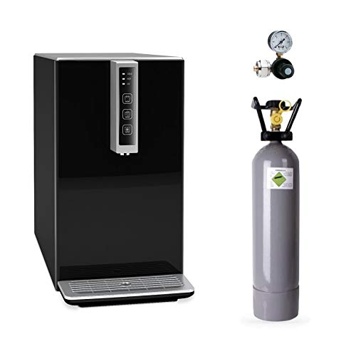 SPRUDELUX Auftisch-Tafelwasseranlage Black & White Diamond Edition Inkl. Filtereinheit. Profi-Wassersprudler für den Privathaushalt. Spritziges Mineralwasser (Schwarz, Mit 2 Kg CO2 Flasche)