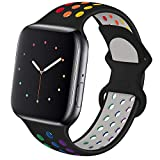 Hotflow Compatible with Apple Watch Band 42mm 44mm,Soft Silicone Sport Wristband for iWatch Series 6, Series 5, Series 4, Series 3, Series 2, Series 1 ,SE, M/L,Black-colorful