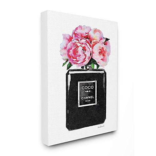 Stupell Industries Glam Perfume Bottle Flower Black Peony Pink Canvas Wall Art, 16 x 20