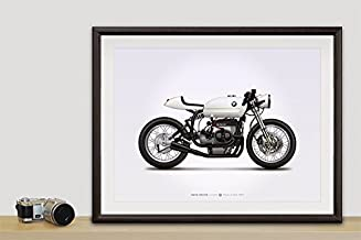 GarageProject101 BMW R75/5 Cafe Racer Motorcycle Illustration Poster Print 18x24 Horizontal
