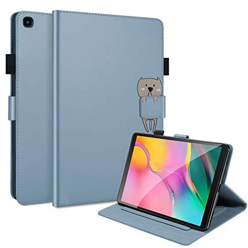 C/N DodoBuy - Funda para tablet Amazon Fire HD 10, diseño de animales de dibujos animados con tapa magnética, funda inteligente de piel sintética, soporte con ranuras para tarjetas, color azul