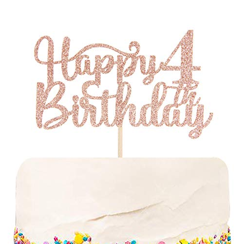 Halodete Glitter Happy 4th Birthday Cake Topper - 4th Birthday/Anniversary Party Supplies - Cheers to 4 Years Party Decoration Rose Gold