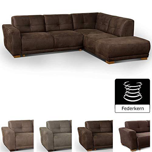 Cavadore Ecksofa'Modeo' / Sofa-Ecke mit Federkern und modernen Kontrastnähten / Hochwertiger Mikrofaser-Bezug in...