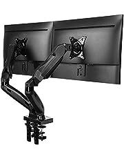 HUANUO Dubbele Monitorstandaard, Gasveerarm 360 ° Draaibaar voor 13 tot 27 inch Schermen, 2 Montageopties, VESA 75/100