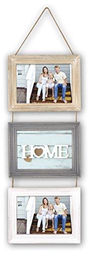 ZEP Lavigny - Portafotos triple de madera en tamaño 10x15, marrón, gris y blanco