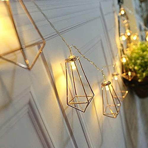 LED Hueco Metal String Lights Luces de la Ventana String Lights Copper Cable Light Light Diamond Fairy Light USB Encendido Cálido Leds Blancos-A_3m