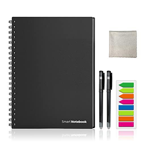 HOMESTEC Cuaderno Inteligente Reutilizable | Tamaño A4 | Hojas borrables y adaptadas para escaneo a PDF mediante APP | Incluye Bolis y Marcadores Adhesivos