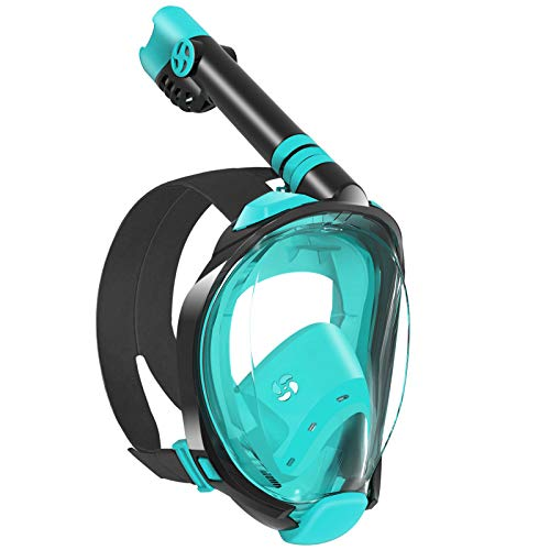 WSTOO Snorkel Mask with Latest Dry Top Breathing System,Fold 180 Degree Panoramic View Full Face Snorkel Mask Anti-Fog Anti-Leak with Camera Mount,Snorkeling Gear for Adults and Kids