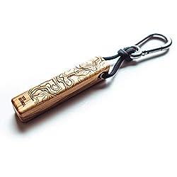 vanbranch wooden style Handgefertigter Schlüsselanhänger aus Holz | wildes Olivenholz | mit Topografie Muster | 8x1,6x1,6cm | Handmade in Germany