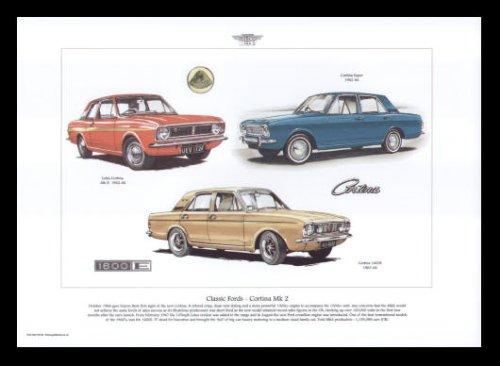 Fords Cortina Mk2 Classic Cars - Lotus Cortina MkII, Cortina Super, Cortina 1600E - Art Print