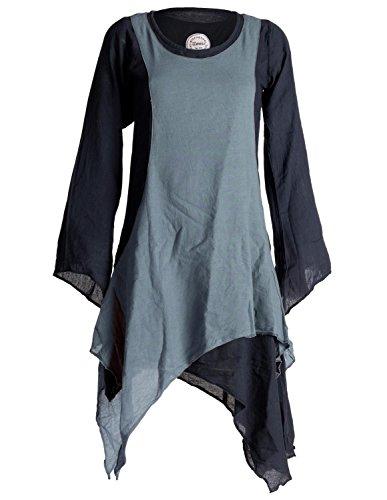Vishes - Alternative Bekleidung - Langärmliges Zipfeliges Lagenlook Kleid/Tunika aus handgewebter Baumwolle schwarz-grau 48