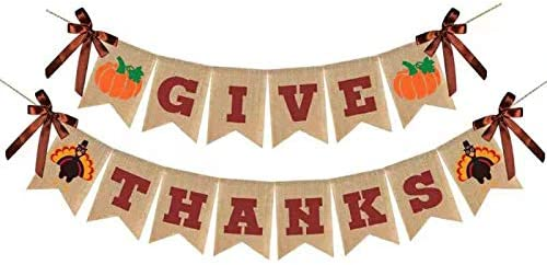 Give Thanks Burlap Banner, Thanksgiving Banner Burlap, Rustic Tu