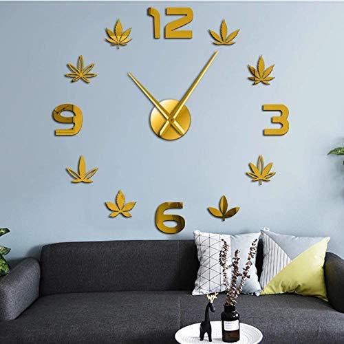 tyjsb Hoja de Marihuana DIY Reloj de Pared de Cuarzo silencioso Hierbas Verdes Efecto de Espejo Tamaño de Hoja Reloj de acrílico Ajustable DIY-27inch