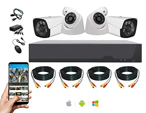 4CH HD DVR Videovigilancia Hogar CCTV Kits de Seguridad 4 Sistema de Cámara 2 Exterior 2 Interior Completo CCTV Bundle para el Hogar