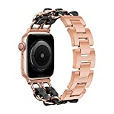 WESADN Compatible with Apple Watch Band 38mm 40mm Women Girls, Fashion Dressy Bracelet Metal Chain with Black Leather Replacement Wristband for iWatch SE Series 6 5 4 3 2 1 38mm 40mm, Rose Gold