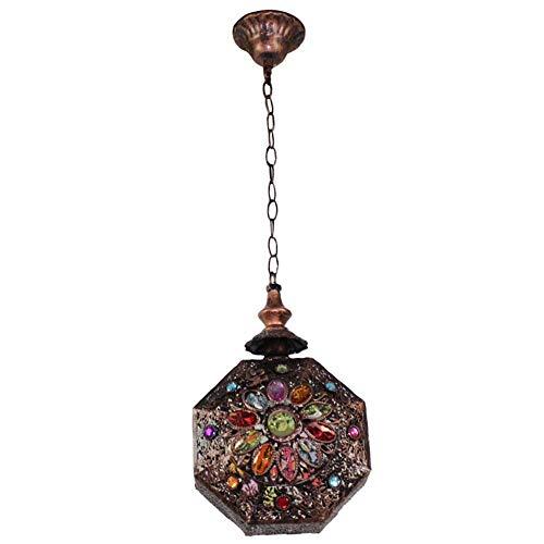 Plafondlamp Sospesa Retrò Marokkaanse Oosterse E14 met ijzeren design en acryl voor zitkussens in de woonkamer, diameter 21 cm x 33 cm, modern design