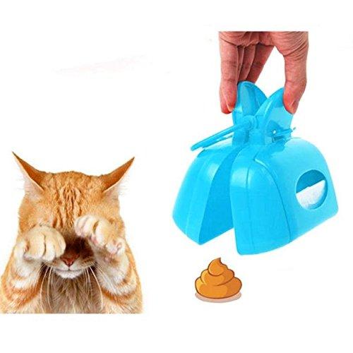 ABBY Pet Chiens Chats Ramasse-crottes Pelles Ramasse en Plastique Portable Pooper Scooper pour Nettoyer Excréments/Bleu
