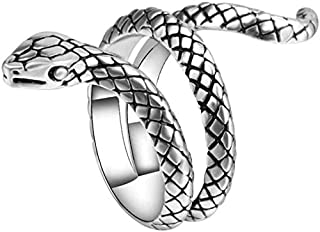Goodern Creative Personality Sterling Ring Snake Serpent Ring Cobra Temperament Opening Rings Adjustable Size Rings for Me...