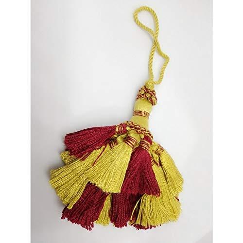 Tassel Boog Sleutel Grote Twee Toon Ballerina Grote Top 17 cm Basis 8 cm Giallo Oro E Oro Scuro