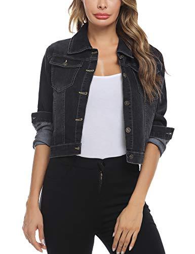 Akalnny Damen Jeansjacke Damenjacke Jeans Jacke Kurze Nieten Langarm Stretch Vintage Wash Denimjacke Revers Outwear(Schwarz,L