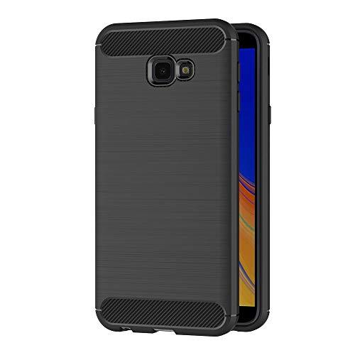 AICEK Cover Compatible Samsung Galaxy J4 Plus, Nero Custodia Samsung J4+ Silicone Molle Black Cover per Galaxy J4+ Soft TPU Case (6.0 Pollici)
