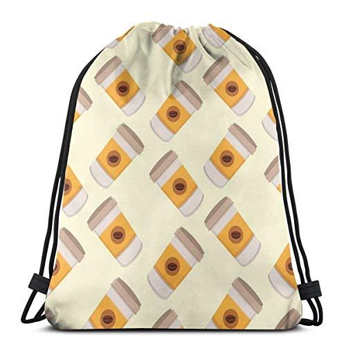 U Shape Nahtlose Kaffee Icons Kordelzug Tasche Rucksack Gym Tanztasche Rucksack für Wanderstrand Reisetaschen 17×14 Zoll