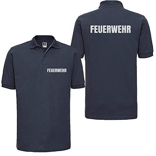 Shirt-Panda Feuerwehr Poloshirt Herren Unisex - Reflektierender beidseitiger Aufdruck Brust & Rücken - viele Dunkelblau (Druck Silber) XL