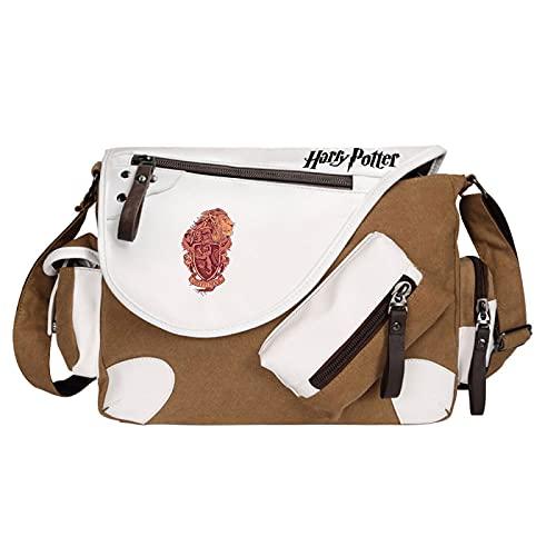 QLma Bolso mensajero de viaje de ocio juvenil bolso de hombro multifunción Gryffindor estilo retro 35x26x11cm Marrón