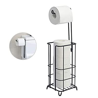 ZCCZ Toilet Paper Holder, Free Standing Bathroom Toilet Tissue Paper Roll Storage Holder Stand Shelf, Holds Mega Roll for Bathroom Storage Organizing, Black