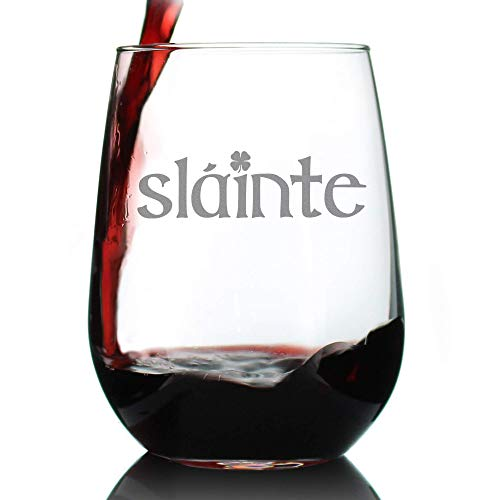 Slainte - Irish Cheers - Funny St Patricks Day Party Stemless Wine Glasses - Saint Patty's Decorations