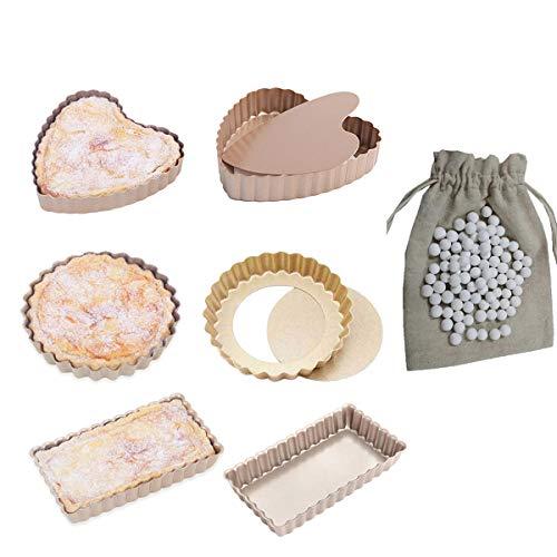 CANDeal Lot de 6 Mini-moules à Tarte/Flan à Base Amovible et Billes de Cuisson en céramique 500 g (Rond et Rectangulaire et Cœu Poêles à Quiche)