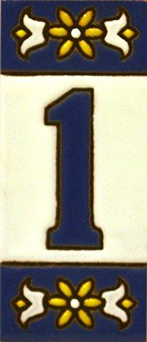 Números casa. Letreros con numeros y letras en azulejo de ceramica policromada, pintados a mano en técnica cuerda seca para placas con nombres, direcciones y señaléctica. Texto personalizable. Diseño AZUL MINI 7,3 cm x 3 cm. (NUMERO UNO '1')