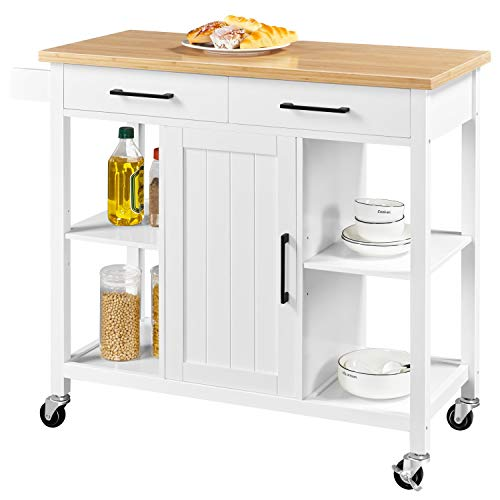 Yaheetech Kitchen Island with 2 Drawers and Storage Cabinet, Kitchen Cart with Bamboo Countertop  Indiana
