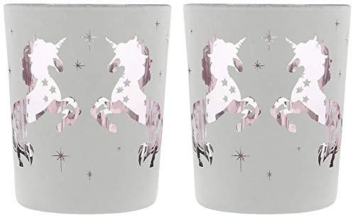 Zwei Zauberhafte Teelichthalter Einhorn aus Glas