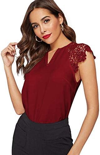 WDIRARA Women s Elegant V Neck Summer Lace Cap Sleeve Top Blouse Burgundy L product image