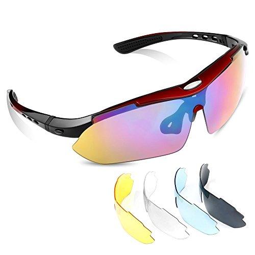 Gafas de sol MeFe Sports, gafas UV400 para exteriores 5 Juego de lentes intercambiables para la conducción de esquí Golf Running Ciclismo de pesca perfecta para hombres y mujeres (rojo)