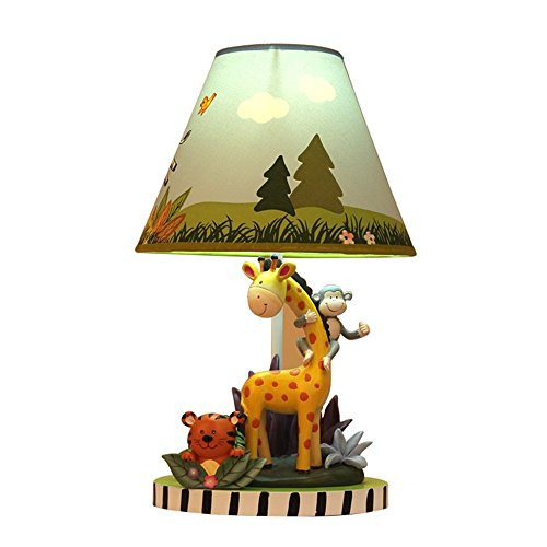 Lámparas de escritorio Habitación para niños Dibujos animados Lindo animal Lámpara de mesa Dormitorio Lámpara de noche Moda creativa Cálido Niño niña Lámpara de mesa decorativa (Color: Interrupto