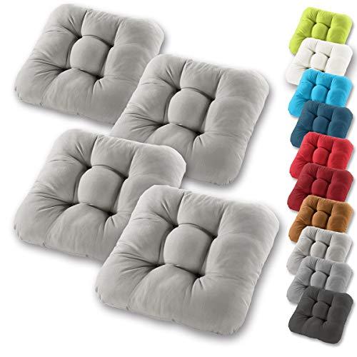 Gräfenstayn® Set de 4 Cojines de Asiento cojín de Silla 38x38x8cm para Interior y Exterior - Funda de algodón 100% - Muchos Colores - Acolchado Grueso/cojín de Suelo (Gris) 🔥