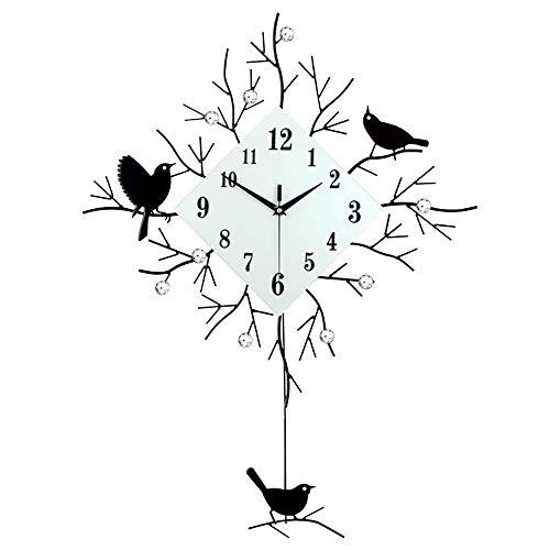 DIEFMJ Moderna Sala de Estar Dormitorio Decoración de Pared Relojes y Relojes creativos Moda Gráficos de Pared Simples Reloj Mudo Reloj de Pared de pájaro Mudo Europeo