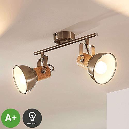 Lampenwelt Strahler 'Dennis' (Modern) in Alu aus Metall u.a. für Küche (2 flammig, E14, A+, inkl. Leuchtmittel) - Deckenlampe, Deckenleuchte, Lampe, Spot, Küchenleuchte