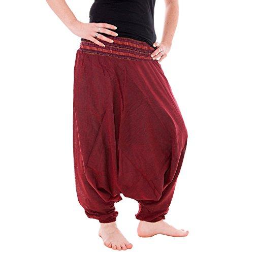 Vishes - Alternative Bekleidung - Baumwoll Haremshose mit gestreiftem Bund Dunkelrot