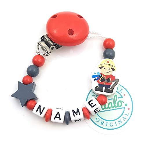 Baby Schnullerkette mit Namen, Feuerwehr, Stern, Rot, Handmade Namenskette/Schnullerhalter zur Geburt, Geburtstag, Taufe für Junge und Mädchen
