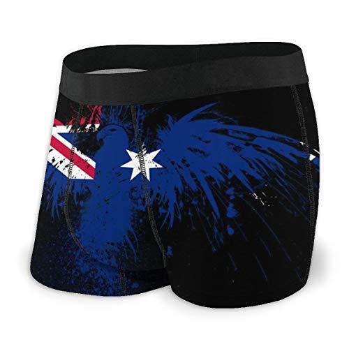 MRRUI Herren Boxershorts, besonders weich, überzogener Bund mit Flagge von Australien Gr. X-Large, Schwarz