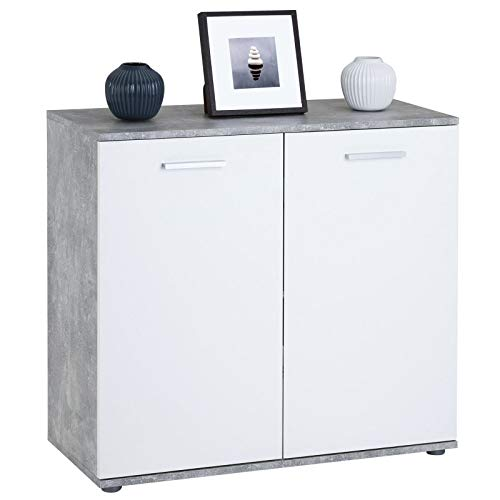 CARO-Möbel Kommode Chicago mit 2 Türen, Moderne Anrichte in Betonoptik/weiß, Sideboard Mehrzweckschrank für Wohnzimmer