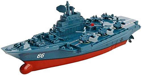 Bck Remote Control Marine Warship 2.4G Military RC Naval Ship Vessel Model Remote Control Boat Speedboat Yacht Electric Water Kids Toy Navy Battleship RC Military Model Boat (Color : Blue)