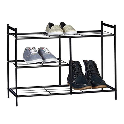 Relaxdays schoenenkast Sandra 3 inlegplanken metaal voor laarzen HxBxD: 50,5 x 70 x 26 cm voor 8 paar opslag met handgrepen, zwart