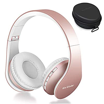 Wireless Bluetooth Over Ear Stereo Foldable Headphones,Wireless and Wired Mode Headsets with Soft Memory-Protein Earmuffs,Built-in Mic for Mobile Phone PC Laptop(Rose) by WorWoder