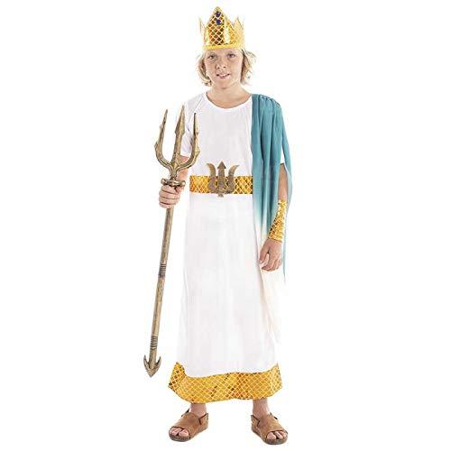 Disfraz Dios Griego Neptuno Niño Romano Poseidón【Tallas Infantiles de 3 a 12 años】[Talla 10-12 años] Toga Corona Laurel Brazaletes   Disfraces Carnaval Históricos Antigua Grecia Roma para niños